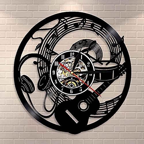 Nota Musical Ola música Auriculares Guitarra Disco de Vinilo Reloj de Pared Muebles para el hogar Estudio de música para el hogar Estudio de grabación decoración de la Pared