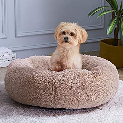 WAYIMPRESS Calming Dog Bed for Small Dog&Cat ,Comfy Self Warming Round Dog Bed with Fluffy Faux Fur for Anti Anxiety and Cozy (20 x 20 Inch, Coffee)