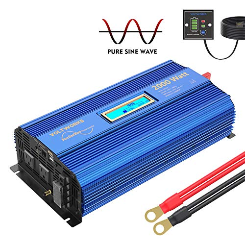2000Watt Pure Sine Wave Power Inverter 12V DC to 120V AC with 2 AC Outlets Dual 2.4A USB Ports Remote Control & LCD Display by VOLTWORKS