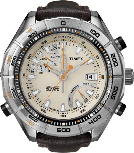 Timex Intelligent Quartz Herren Armbanduhr Höhenmesser mit Gelb Zifferblatt Analog-Anzeige und braunem Leder–T2N728