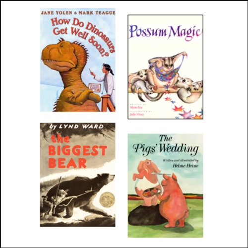 The Biggest Bear, How Do Dinosaurs Get Well Soon?, The Pig's Wedding, & Possum Magic audiobook cover art
