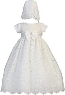 Romping House Baby Girls Floral Lace Empire Waist Organza Long Christening Gown Baptism Dress with Ruffle Bonnet