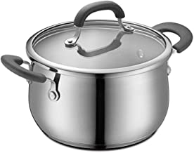 SHYPT Classic Stainless Steel Handle Saucepan with Glass Dishwasher Safe (Size : S)