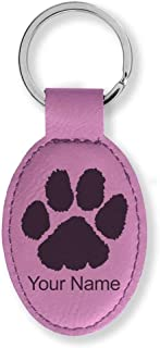 Oval Keychain, Paw Print, Personalized Engraving Included (Pink)