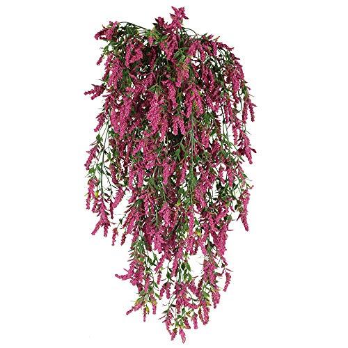 HUAESIN 3pcs Planta Artificial Colgante Decorativa, Guirnalda Flores Colgantes con Lavanda Artificial Enredadera Plastico para Exterior Interior Pared Arco de Boda Maceta Cocina Baño Hogar Purpureo