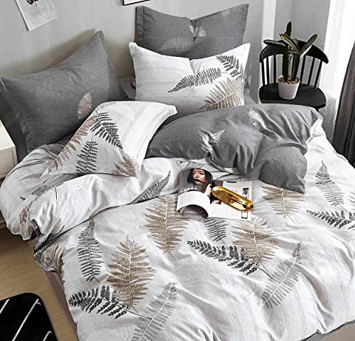 SLEEPBELLA Duvet Cover Set Full Size White & Grey Leaf 100% Cotton Reversible Botanical Comforter Cover 3 Pcs