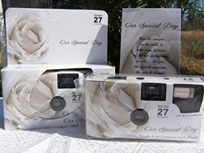 10 Pack Soft White Rose Wedding Disposable 35mm Cameras In Matching Gift Boxes- 27 Exposures Each- With Matching Table Tents from The Camera Depot