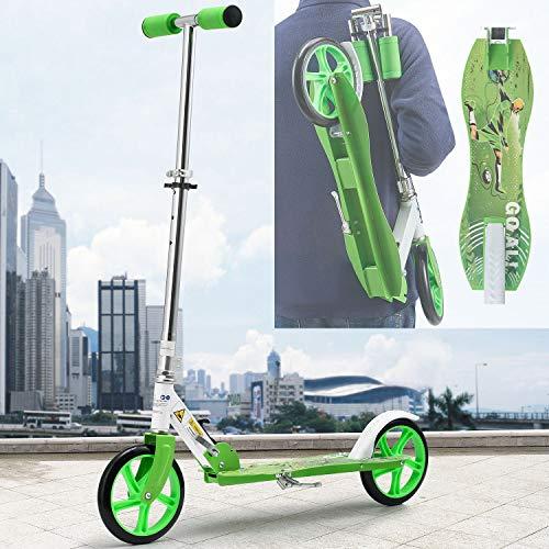 ArtSport Scooter Cityroller Soccer Jungen Big Wheel 205mm Räder klappbar höhenverstellbar – Kinder-Roller ab 6 Jahre - Tretroller bis 100kg – grün