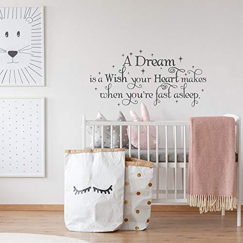 Citas Sueño de un sueño Cuando te duermas, tu corazón se hará realidad Pegatinas de vinilo para pared | Pegatina creativa Regalo DIY Calcomanía de pared Decoración de pared Decoración de pared