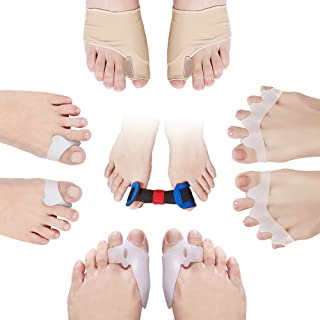 Sunnyac Toe Separators and Stretcher, 9 Pack Ultra-soft Stretchy Silicone Bunion Relief Corrector Spreaders, Hammer Toe Straightener Protectors for Women and Men's Yoga Toes, Overlapping, Claw Toes