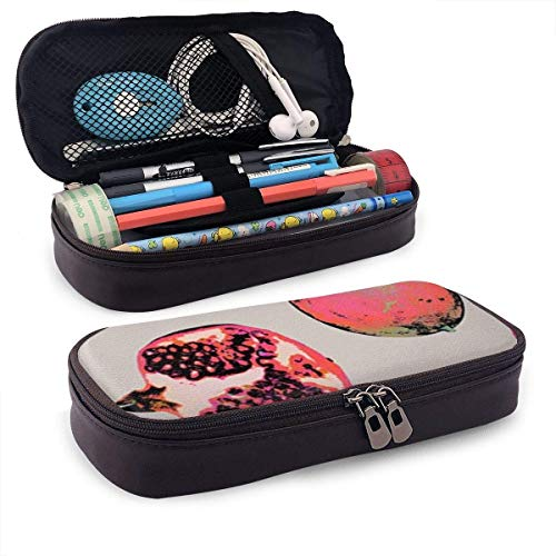 XCNGG Estuche para lápices neceser Half Pomegranate Pattern PU Leather Pencil Case School Office Use Zipper Stationery Organizer