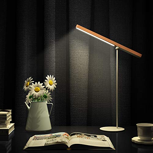LED Desk Lamp [Modern Wooden Dimmable 360°Adjustable] Desk...