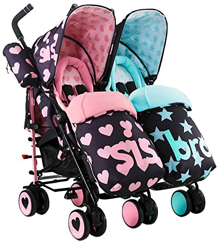 Cosatto Supa Dupa Double/Twin Stroller – Pushchair Suitable from Birth, Lightweight, Compact Fold with Stand (Sis and Bro 5)