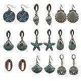 lijun Vintage Ocean Theme Pendientes Colgantes Set Metal Shell Starfish Conch Jewelry