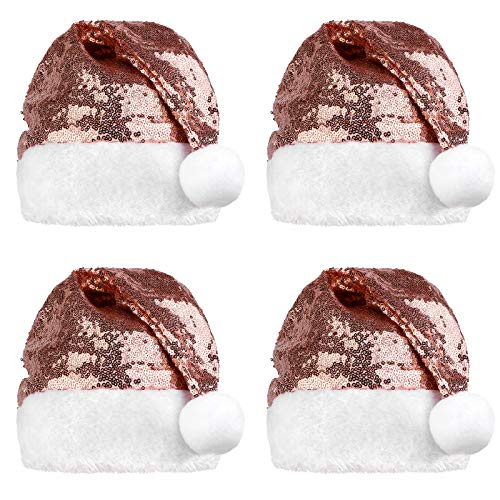 Elcoho 4 cappelli di Babbo Natale per adulti rosa oro paillettes cappello di Babbo Natale per feste di Natale ornamenti festa forniture
