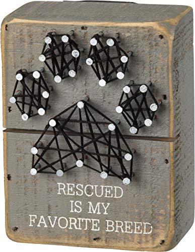 Primitivos de Kathy, Arte com fios, Rescued is My Favorite Breed, 3 x 4-Inches, 1