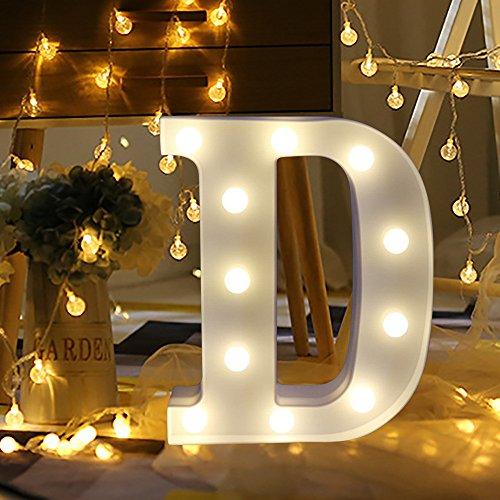 LED Buchstabe Lichter Alphabet, LED Deko Brief Licht, LED Dekor für Geburtstag Party Hochzeit Urlaub Haus Bar Valentinstag Halloween Weihnachten Christmas Nachtlicht Valentinstag Dekoration (Weiß D)