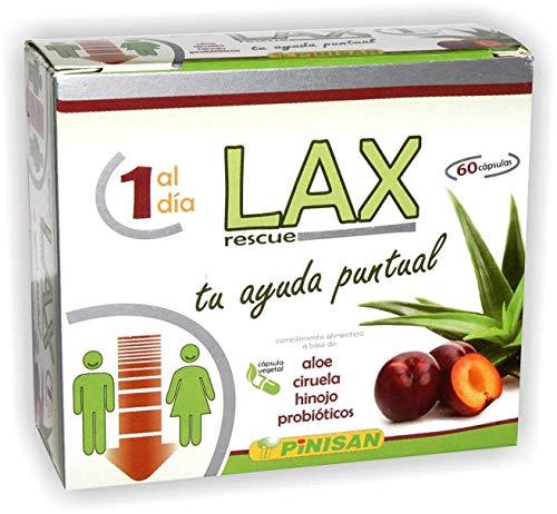 ALOE LAX Aloe Vera con Probióticos y reforzado con ciruela e hinojo para limpieza de colon, Detox Natural, mejora la digestión, regularidad intestinal.  60 Capsulas, 1 al día