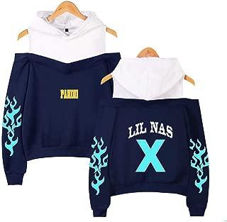 FUREIN Rapper Lil NAS X Printed Long Sleeve Sweatshirt Pullover Women Off-The-Shoulder Hoodie