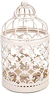 Retro Iron Candle Holder Hanging White Tealight Bird Cage Design Exquisite for Wedding Dining Centerpieces