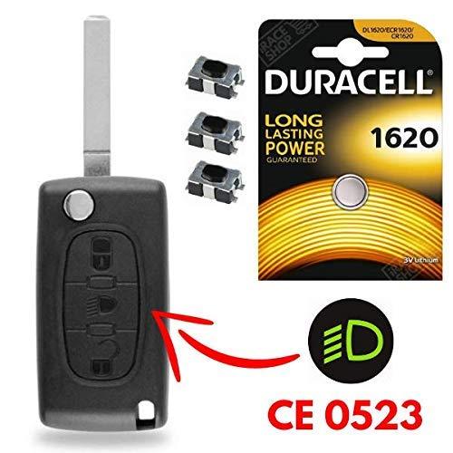 Coque 3 Boutons Plip Télécommande Clef Peugeot 207 307 407 308 607 Partner Expert Bipper ✚ 3 Switch ✚ 1 Pile CR1620 Duracell - Kit iRace Keys®