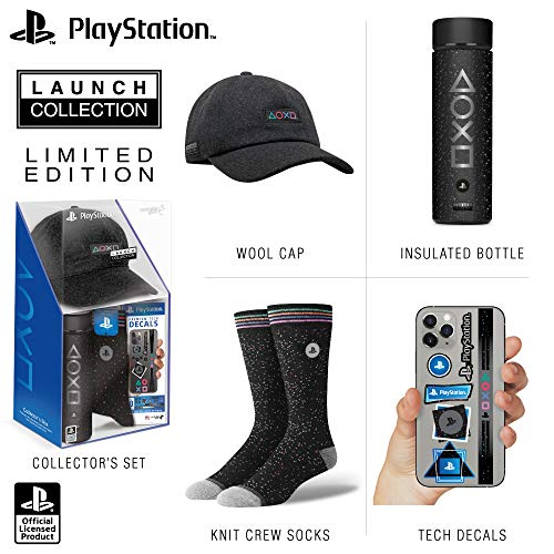 Controller Gear Official Sony PlayStation 5 Launch Collection Merchandise Bundle - Wide Mouth Stainless Steel Water Bottle, PS5 Hat, Socks, + Premium Tech Decals Gift Set - PlayStation 5