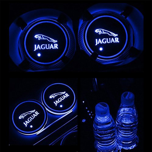 JiangJing Led Car Cup Holder Mat Pad Waterproof Bottle Drinks Coaster Built-in Vibration Automatically Turn On at Dark Universal 7-Color Light 2-Packs For Jaguar