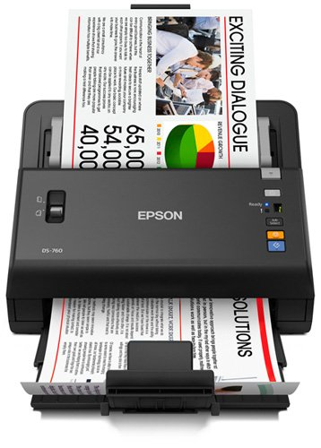 Epson WorkForce DS-760 Hi Speed, Sheet-Fed Color Document Scanner, 80 page Auto Document Feeder (ADF) & Duplex (B11B222202)