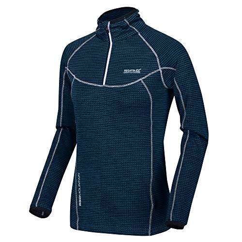 Regatta sous Couche Polaire Technique Manches Longues Yonder avec Ouverture par 1/2 Zip et propriété de séchage Rapide T-Shirt Femme Bleu (Navy) L (Taille Fabricant : 44)