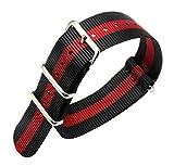 Estilo de la Nylon balístico Banda de Reloj de reemplazo de la Correa de 18 mm de Negro/Rojo para los Hombres Trenzado
