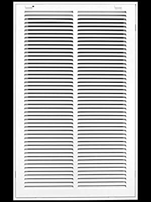 """14"""" X 24"""" Steel Return Air Filter Grille for 1"""" Filter - Removable Face/Door - HVAC Duct Cover - Flat Stamped Face -White [Outer Dimensions: 15.75w X 25.75h]"""