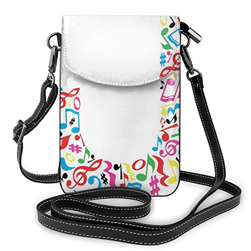 Women Small Cell Phone Purse Crossbody,J Typography In Artful Design Musical Notes...