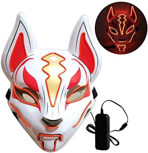 MHUI Fox De La Cara Llena De Neón del LED Máscara Máscaras del Fiesta De Halloween Que Brilla En La Oscuridad del Horror De Naranja Enmascarador Purge-