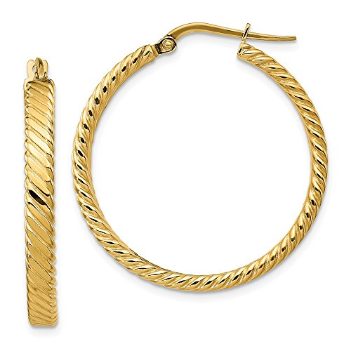 14k Yellow Gold Patterned Hoop Earrings (32.25x31mm) Gift for Women