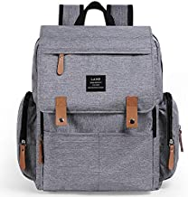 Baby Diaper Backpack - Large Capacity Waterproof Nappy Bag with Insulated Pockets, Stroller Straps, Travel Backpack&Outdoor Bag(Pure Grey)