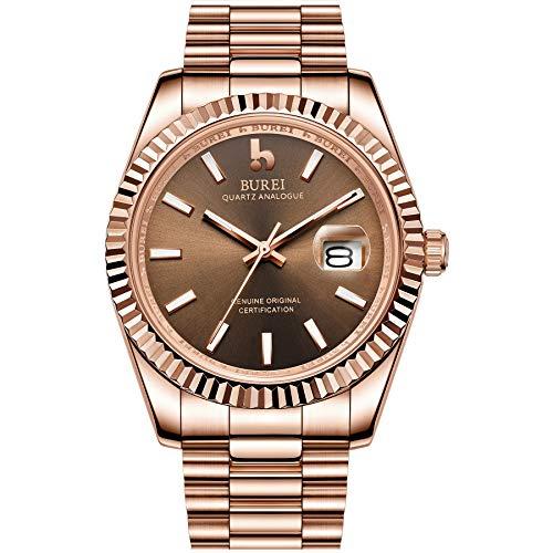 Burei männer Uhren Luxus analog Quarz Armbanduhr Rosegold dial datumsanzeige saphirglas objektiv mit Rose Gold Edelstahl Band