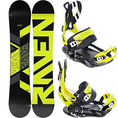 RAVEN Snowboard Set: Snowboard Patrol 2020/2021 + Bindung Fastec FT400 Lime (160cm Wide + FT400 Lime XL)