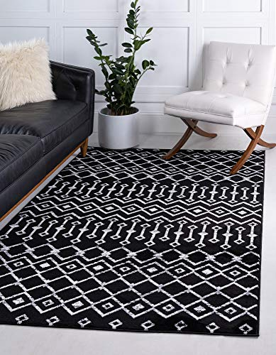 Unique Loom Moroccan Trellis Collection Moroccan Trellis Geometric Transitional Black/Ivory Area Rug (7' 0 x 10' 0)