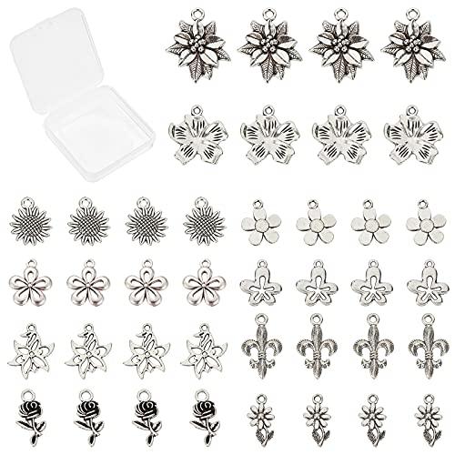 SUNNYCLUE 1 caja de 40 colgantes de aleación de estilo tibetano con diseño de girasol, rosa, 40 cierres de langosta y anillos de salto para collares, pulseras, pendientes, bisutería