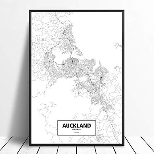 Mode Kanvasmålning Auckland, Nya Zeeland Svartvit Anpassad Världskarta Affisch Canvastavla Nordisk Väggkonst Heminredning Målningar 60x90cm