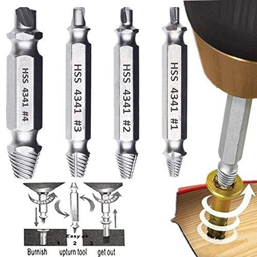 Phego Dañado extractor de tornillos, tornillo removedor y Extractor Set - Conjunto de 4 Dañado tornillo removedor (4 Pcs)