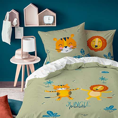Kinder-Bettwäsche Set für Jungen ☆ Jungle Friends Löwe & Tiger · Wende Motiv Dschungel, Afrika & Safari Tiere · 2 teilig - Kissenbezug 80x80 + Bettbezug 135x200 cm - 100% Baumwolle