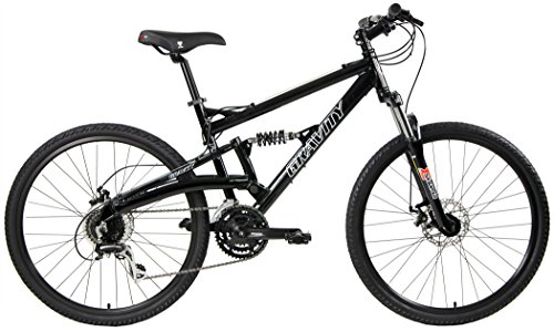 2020 Gravity FSX 1.0 Dual Full Suspension Mountain Bike with Disc Brakes (Black, 17in)