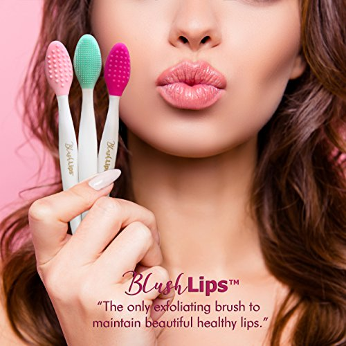 BlushLips A Double-Sided Silicone Exfoliating Soft Lip Brush Applicator Wand Tool for Plump Smoother...