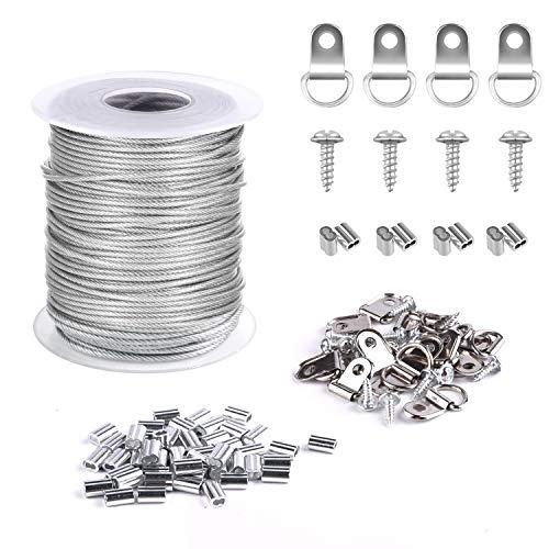 TUPARKA 1.5mmx30m Cable Acero Cable Acero Colgar Cuadros , 30 piezas de Aluminio Crimping Loop Sleeve y 15 juegos de Anillas en D (Sostiene hasta 25 KG)