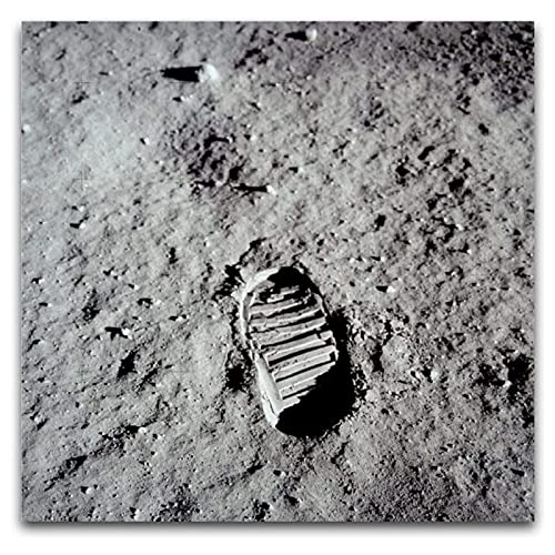 wzgsffs Erster Fußabdruck Auf Dem Mond Neil Armstrong Fotodruck Gestreckte Leinwand Wandkunst Poster Und Drucke Home Bedroom-20X20 Inchx1 Frameless
