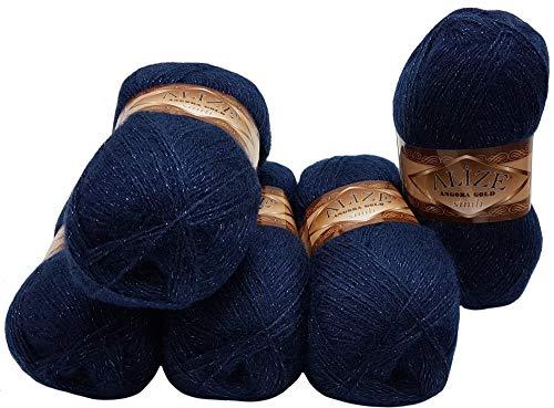 5 x 100 g Alize Glitzerwolle, Effektwolle einfarbig, 500 Gramm Metallic - Wolle mit 20{02ee8955fc12cc16c155c024c35f679fec31de1f90ae27731f62e9068837ba47} Woll-Anteil (Nachtblau 58)