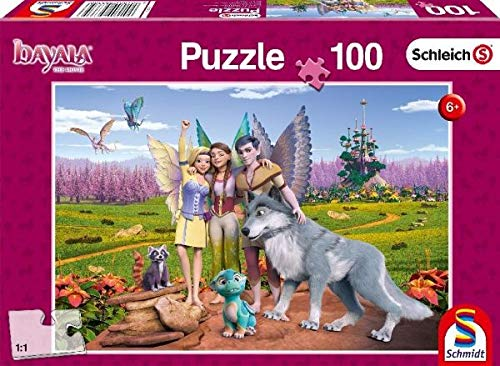 Schmidt Spiele Puzzle 56335 Land der Elfen und Drachen, Schleich - Bayala, Kinderpuzzle, 100 Teile, bunt