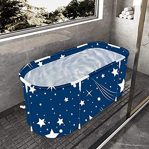 Portable Folding Bathtub Soaking Bath Tub, Separate Family Bathroom SPA Tub for Adult, BDL Freestanding Bathtub for Shower Stall,Thickening with Thermal Foam to Keep Temperature Starry Night Blue