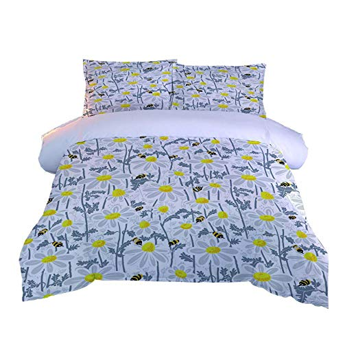 KHGAHD Duvet Cover Set,Single/Double Bed Cover,Bedding Pillow Cover,Flower Bee For Home Decoration-155cmX220cm